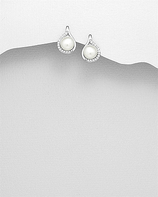 382-5045 - 925 Sterling Silver Earrings Decorated With Fresh Water Pearl And CZ
