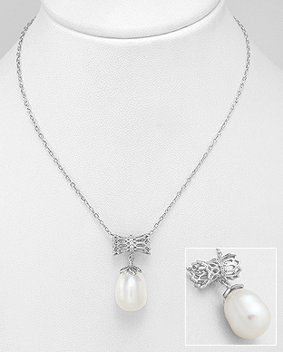 382-5050 - 925 Sterling Silver Necklace Decorated With Fresh Water Pearl And CZ
