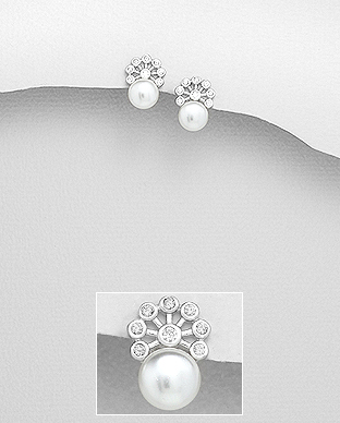 382-5072 - 925 Sterling Silver Earrings Decorated With Fresh Water Pearl And CZ