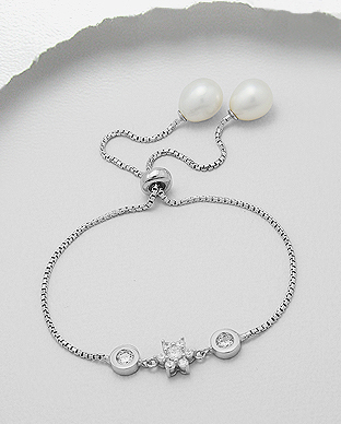 382-5073 - 925 Sterling Silver Flower Bracelet Decorated With Fresh Water Pearls And CZ