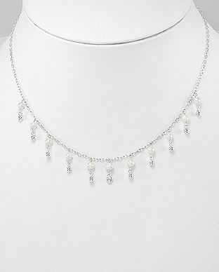 382-5088 - 925 Sterling Silver Necklace Beaded With Fresh Water Pearls