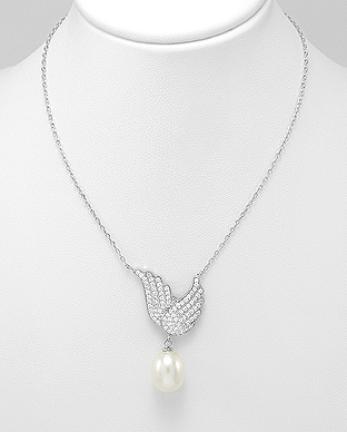382-5102 - 925 Sterling Silver Necklace Featuring Wings Decorated With Fresh Water Pearl And CZ