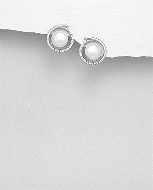 382-5141 - 925 Sterling Silver Push-Back Earrings Decorated With Fresh Water Pearls And CZ