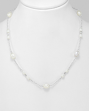 382-5144 - 925 Sterling Silver Necklace Beaded With Fresh Water Pearls