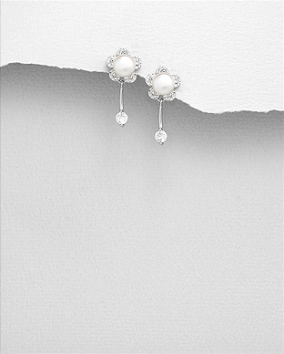 382-5145 - 925 Sterling Silver Push-Back Earrings Featuring Flower Decorated With Fresh Water Pearls And CZ