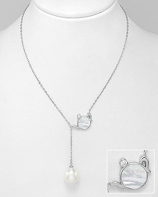 382-5156 - 925 Sterling Silver Necklace Featuring Kettle Decorated With Fresh Water Pearl And CZ