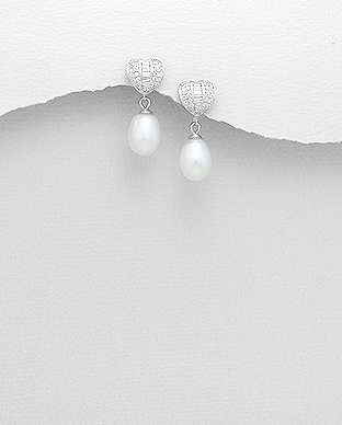 382-5183 - 925 Sterling Silver Push-Back Earrings Decorated With Fresh Water Pearl And CZ