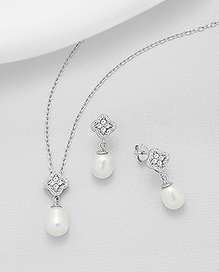 382-5217 - 925 Sterling Silver Set of Push-Back Earrings And Pendant Decorated With Fresh Water Pearls And CZ