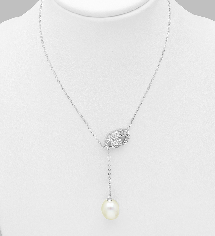 382-5283 - 925 Sterling Silver Necklace Featuring  Evil Eye Decorated With Fresh Water Pearl And CZ