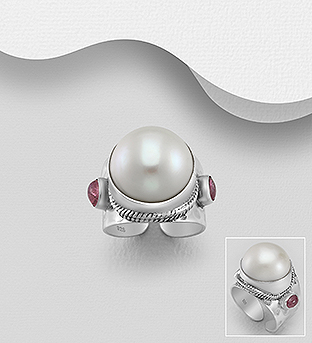 382-5306 - 925 Sterling Silver Ring Decorated With Fresh Water Pearl And Tourmaline