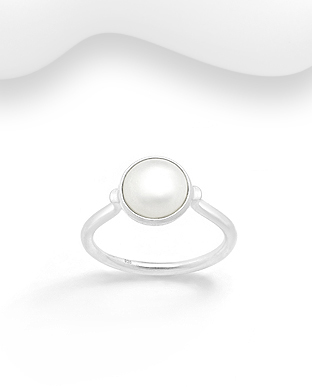 382-5309 - 925 Sterling Silver Ring Decorated With Fresh Water Pearl