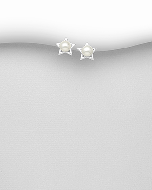 382-5318 - 925 Sterling Silver Matt Star Push-Back Earrings Decorated With Fresh Water Pearls
