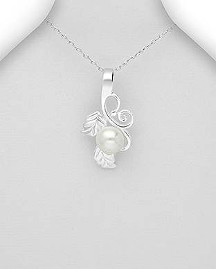 382-5324 - 925 Sterling Silver Pendant Featuring Leaf Decorated With Fresh Water Pearls