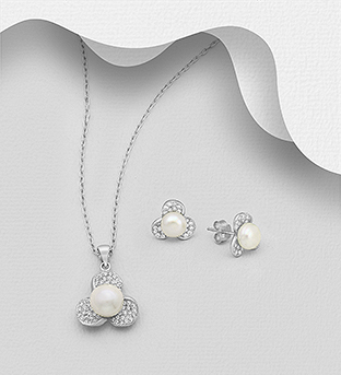 382-5397 - 925 Sterling Silver Set of Push-Back Earrings and Pendant Decorated with CZ Simulated Diamonds and Freshwater Pearls