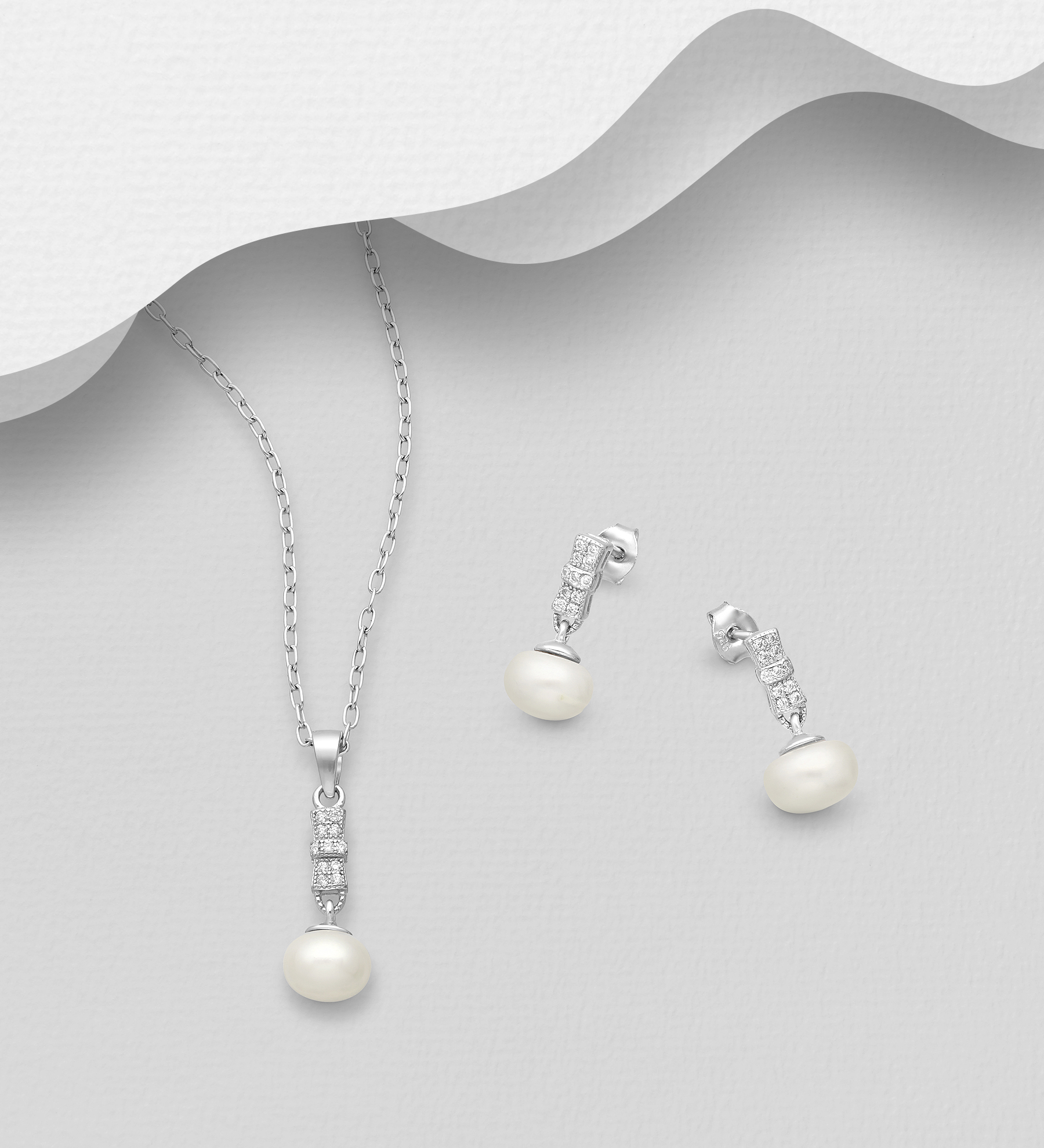 382-5415 - 925 Sterling Silver Set of Push-Back Earrings and Pendant Decorated with CZ Simulated Diamonds and Freshwater Pearls