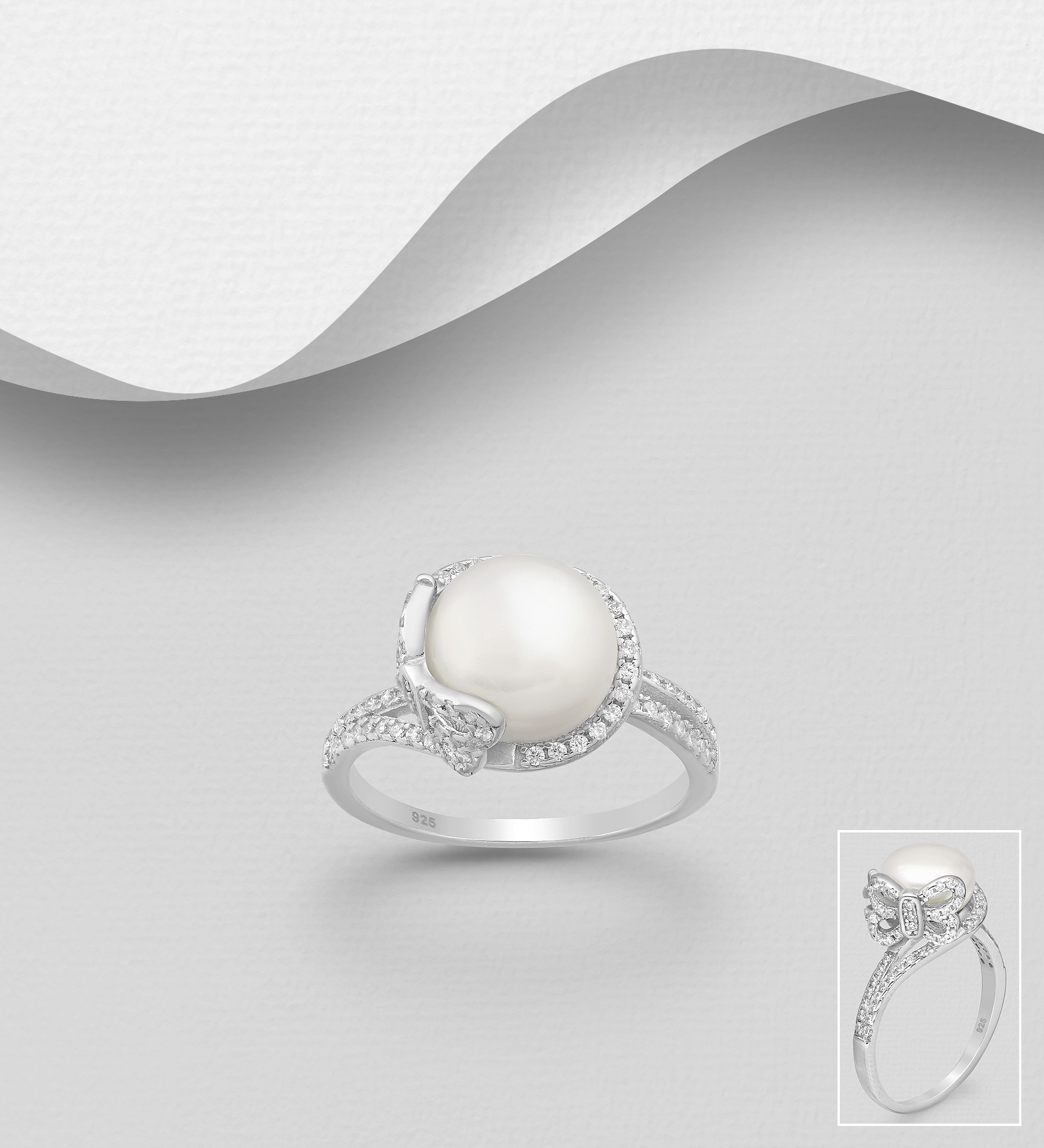 382-5420 - 925 Sterling Silver Ring Featuring Butterfly Decorated with CZ Simulated Diamonds and Freshwater Pearl