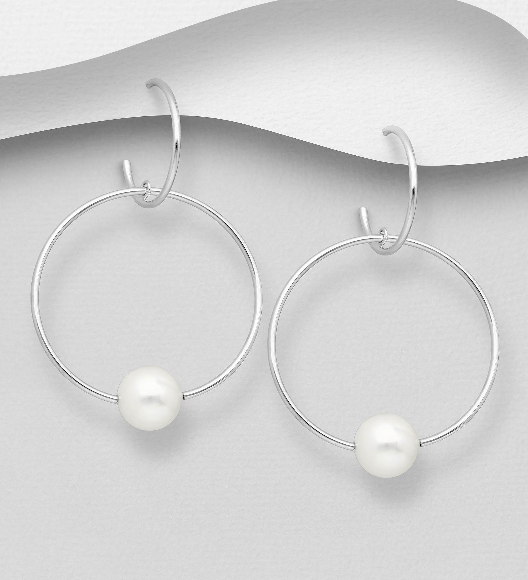 382-5426 - 925 Sterling Silver Push-Back Hoop Links Earrings Decorated with Freshwater Pearls