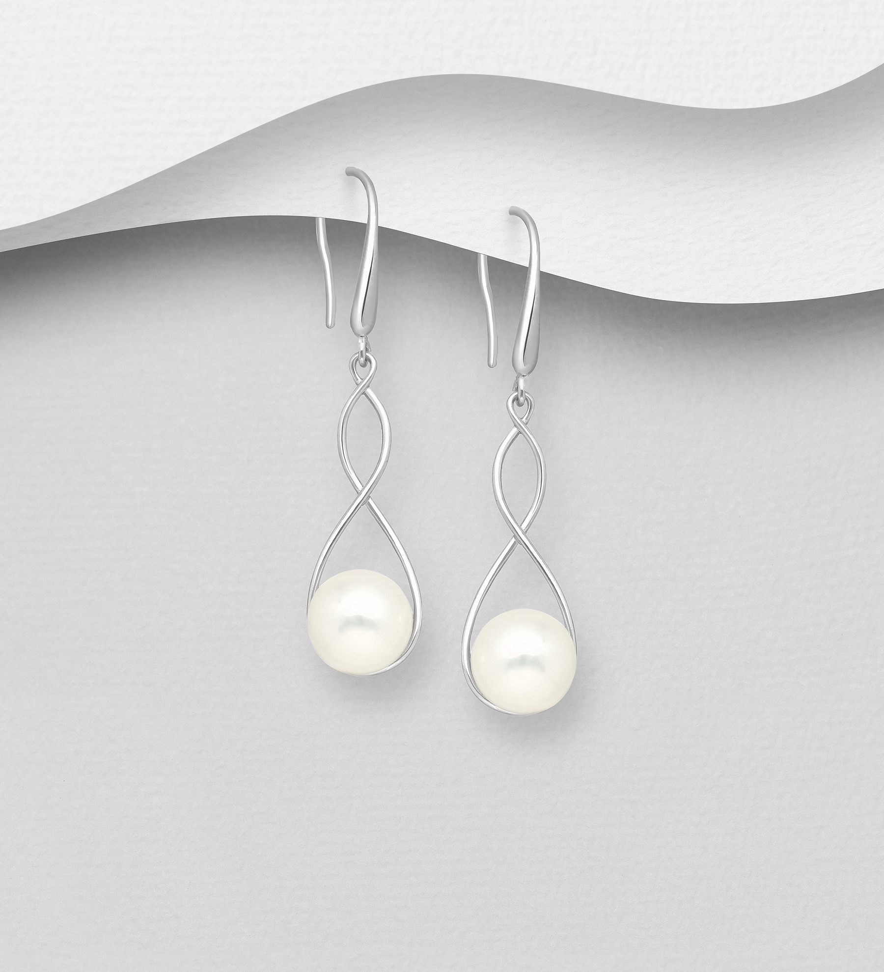 382-5436 - 925 Sterling Silver Infinity Hook Earrings Decorated with Freshwater Pearls