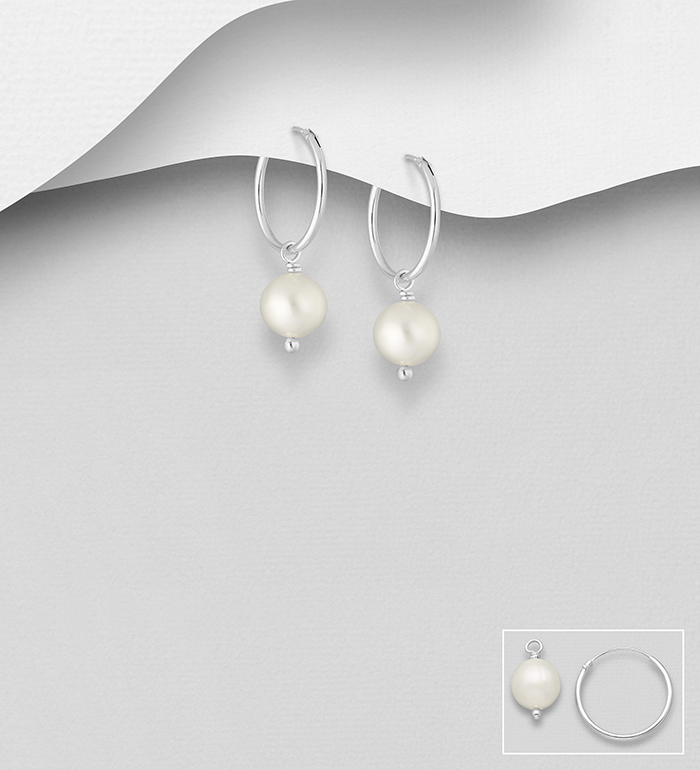 382-5467 - 925 Sterling Silver Hoop Earrings Decorated with Freshwater Pearls