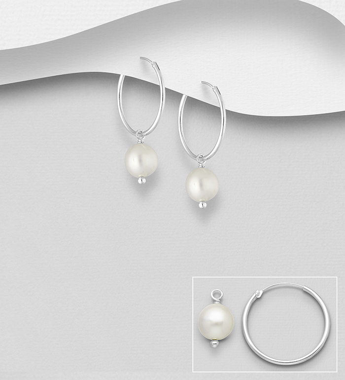 382-5468 - 925 Sterling Silver Hoop Earrings Decorated with Freshwater Pearls