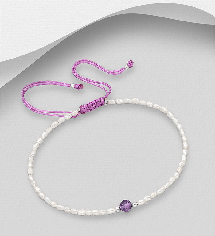 382-5471 - 925 Sterling Silver Adjustable Bracelet Beaded with Freshwater Pearls and Gemstone Beads