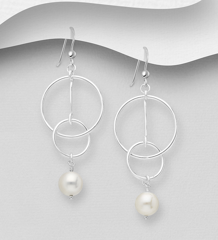 382-5478 - 925 Sterling Silver Circle Interlock and Bar Earrings Beaded with Freshwater Pearls
