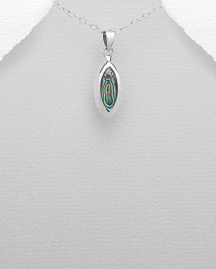 473-1754 - 925 Sterling Silver Pendant Decorated With Shell