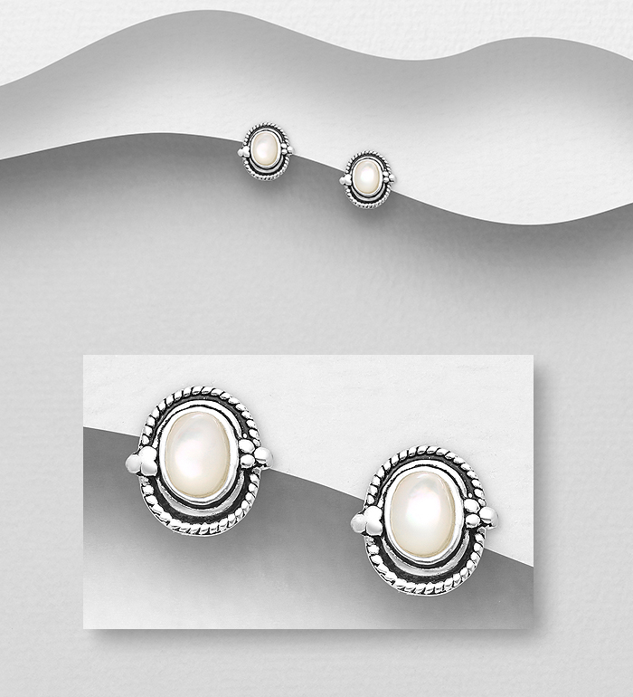 473-2961 - 925 Sterling Silver Push-Back Earrings Decorated With Shell