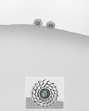 473-2962 - 925 Sterling Silver Push-Back Earrings Decorated With Shell
