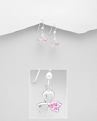 701-21265 - 925 Sterling Silver Shamrock Hook Earrings Decorated with CZ Simulated Diamonds