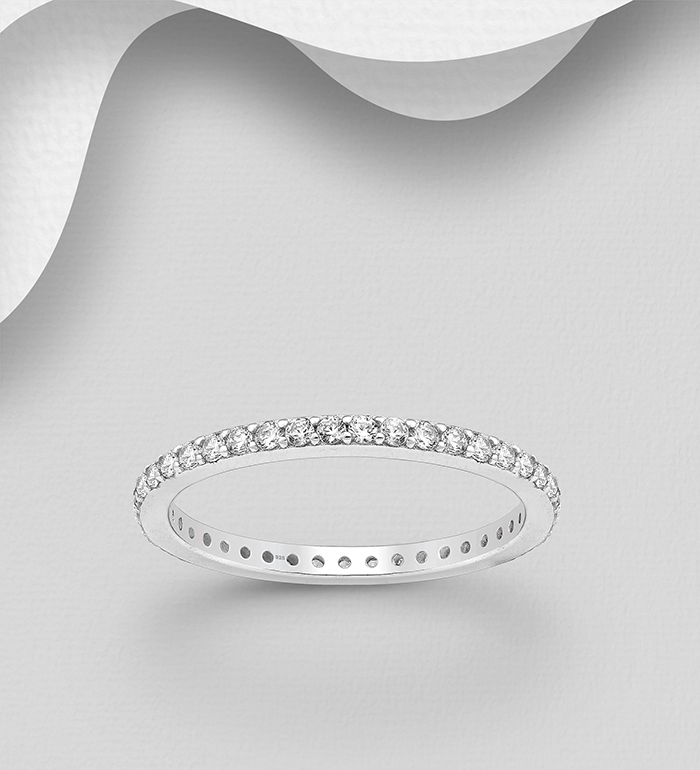 701-23314 - 925 Sterling Silver Band Ring, Decorated with CZ Simulated Diamonds, 2 mm Wide