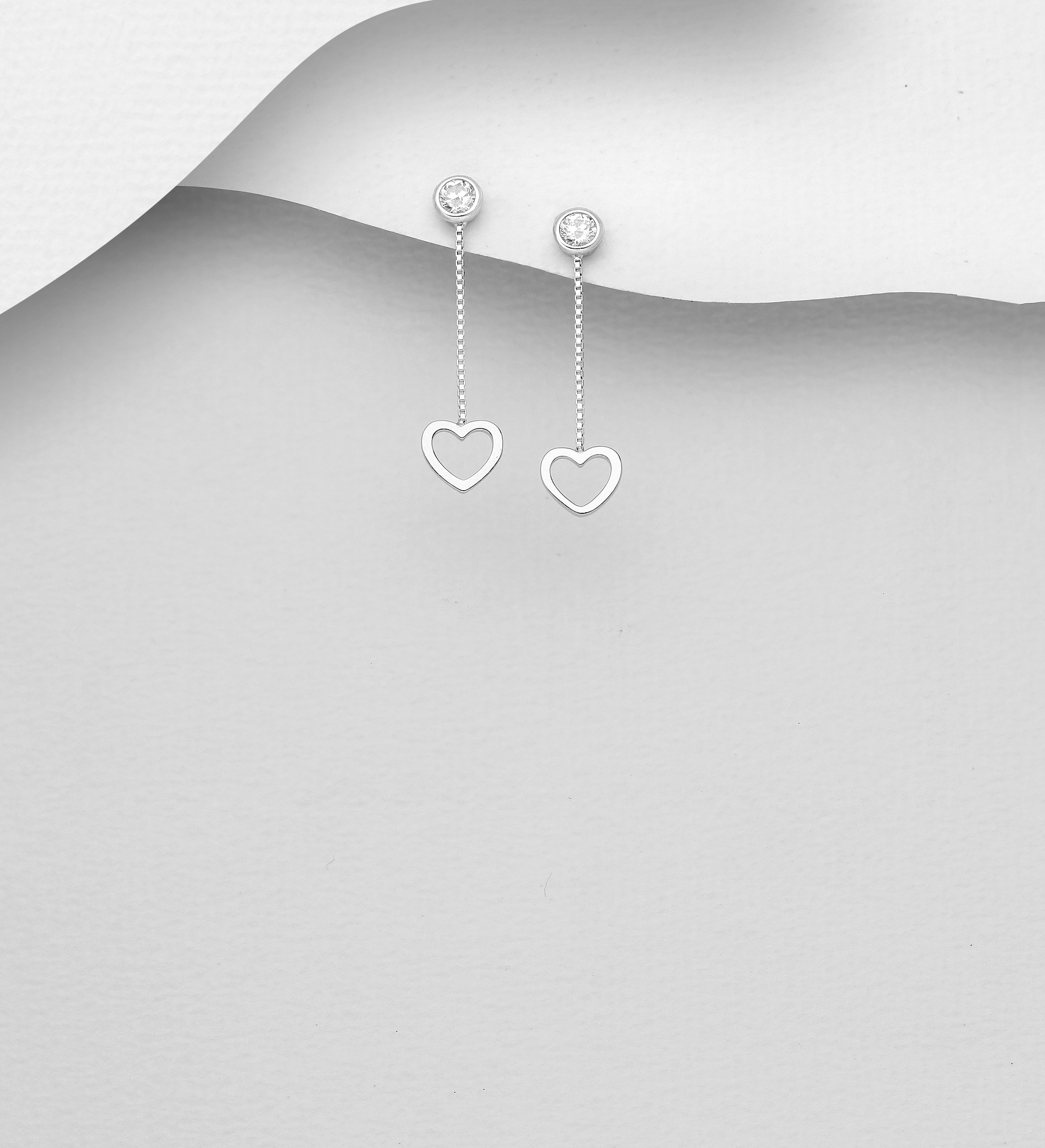 701-23868K - 925 Sterling Silver Heart Push-Back Earrings Decorated With CZ