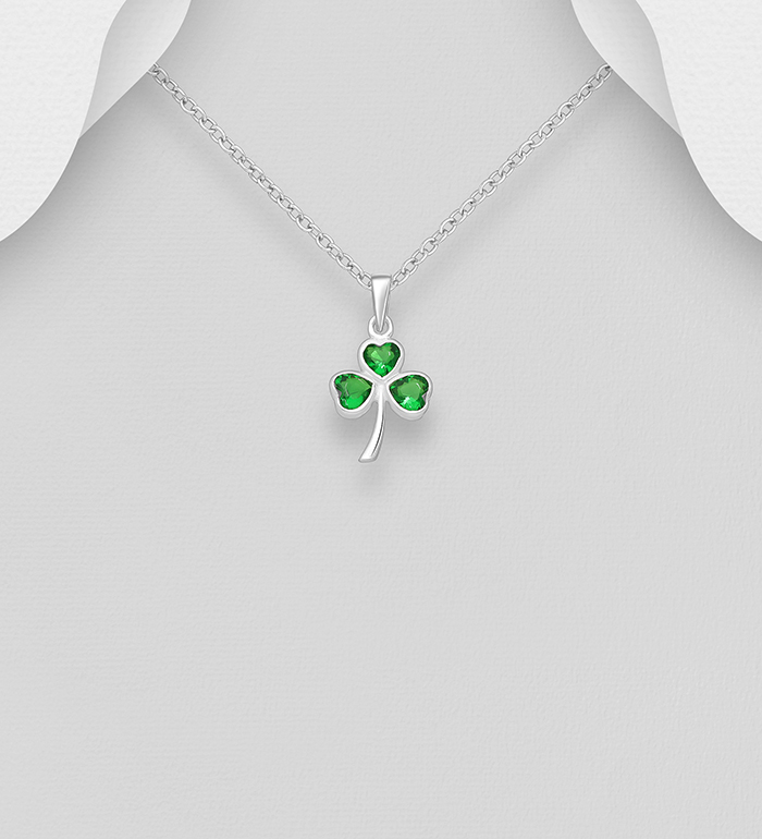 701-24461 - 925 Sterling Silver Shamrock Pendant, Decorated with CZ Simulated Diamonds