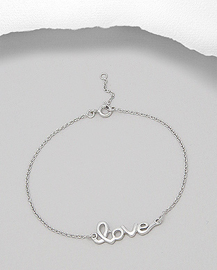 706-16254 - 925 Sterling Silver Bracelet with Message love