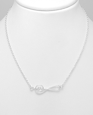 706-20022 - 925 Sterling Silver Music Notes Necklace
