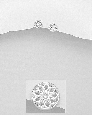 706-23421 - 925 Sterling Silver Flower Push-Back Earrings