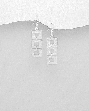 706-23725 - 925 Sterling Silver Matt Square Hook Earrings