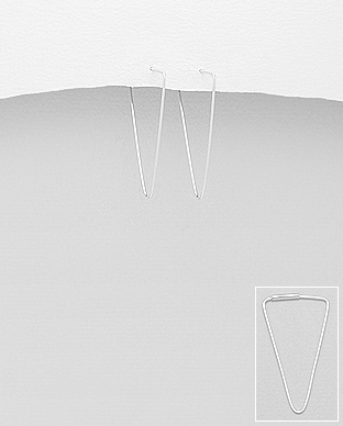 706-24844 - 925 Sterling Silver Triangle Hoop Earrings