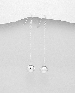 706-25267 - 925 Sterling Silver Ball Hook Earrings