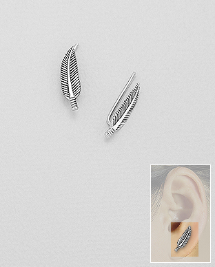 706-25395 - 925 Sterling Silver Feather Ear Pins