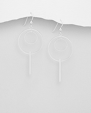 706-26248 - 925 Sterling Silver Bar & Circle Hook Earrings