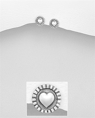 706-26878 - 925 Sterling Silver Heart Push-Back Earrings
