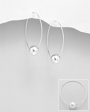 706-27738 - 925 Sterling Silver Ball Hoop Earrings