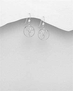 706-27998 - 925 Sterling Silver Tree of Life Hook Earrings