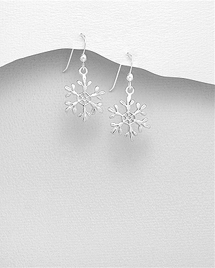 706-28403 - 925 Sterling Silver Snowflake Hook Earrings