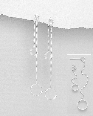 706-28935 - 925 Sterling Silver Circles And Long Chain Jacket Earrings