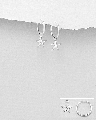706-28965 - 925 Sterling Silver Star Hoop Earrings