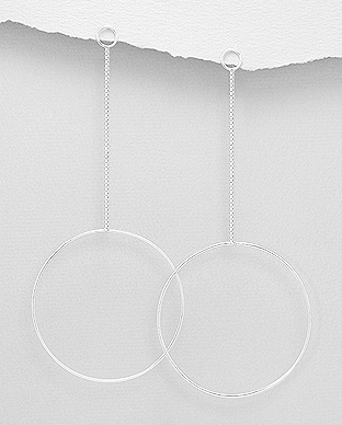 706-28997 - 925 Sterling Silver Circle Push-Back Earrings