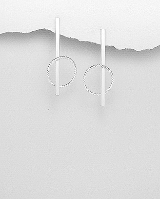 706-29148 - 925 Sterling Silver Bar And Circle Push-Back Earrings