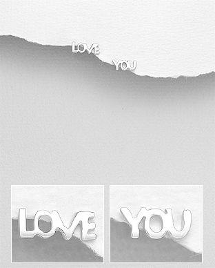 706-29184 - 925 Sterling Silver LOVE YOU Push-Back Earrings